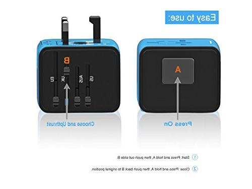 Travel APzek Power Universal Power Adapter Wall Charger US AU &