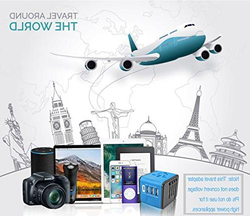 Travel Adapter, Power Adapter With High Speed Type C, Universal Power Adapter Charger for UK US &