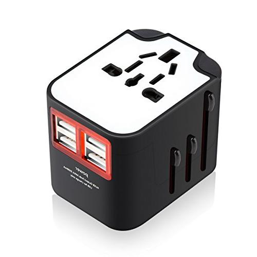 Travel VCOO All-in-One Worldwide Adapter Charger Plug with USB for Europe Built-in Included