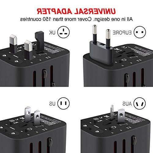 Travel Adapter, Universal All-in-One Worldwide Adapter Wall with 4 USB Europe & Built-in Fuse, Included