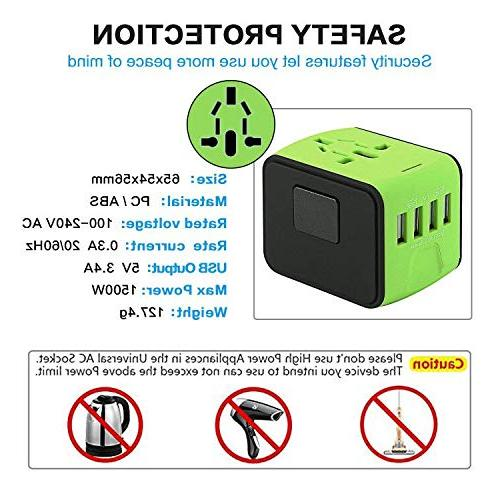 Travel Adapter Tavel Power USB Wall Charger Travel Universal AC Wall US, 160 Countries