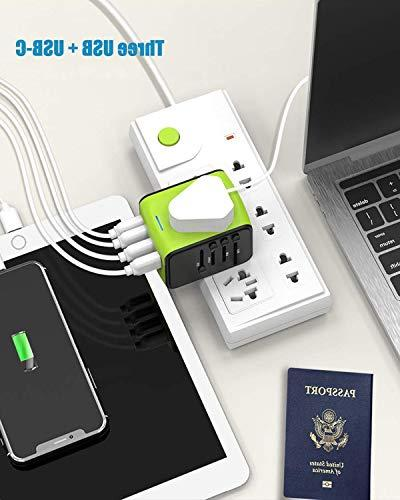 Travel Adapter, Travel Plug Adapter, Adapter with 3.4A USB & for UK, AUS, Countries
