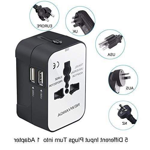 Travel Adapter, All in Travel Adapter Charger Power Plug Adapter Dual USB Charging Ports for USA EU