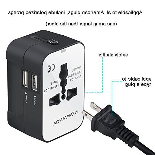 Travel Adapter, Worldwide in One Travel Adapter Wall Charger Power with Dual USB Charging Ports for EU AUS, White