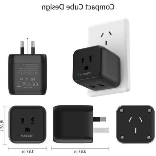 Australia New Zealand Travel Power Plug Adapter &3 US Outlets 2 USB Ports-Type I