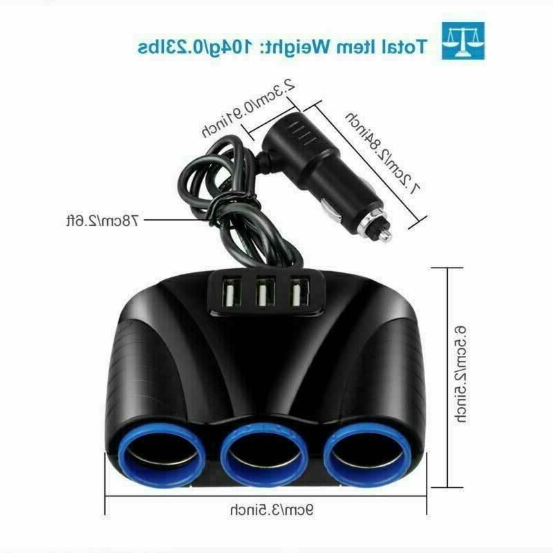 Cigarette Lighter Socket USB Charger Outlet Adapter Car NEW
