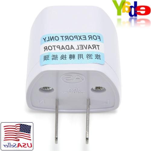 EU/UK/AU AC Wall Converter Plug 2-Pin Travel Adapter Universal