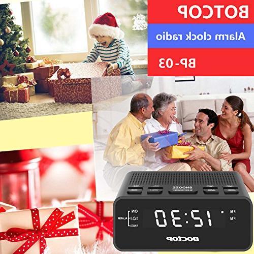 BOCTOP Digital Clock Radio USB Snooze for