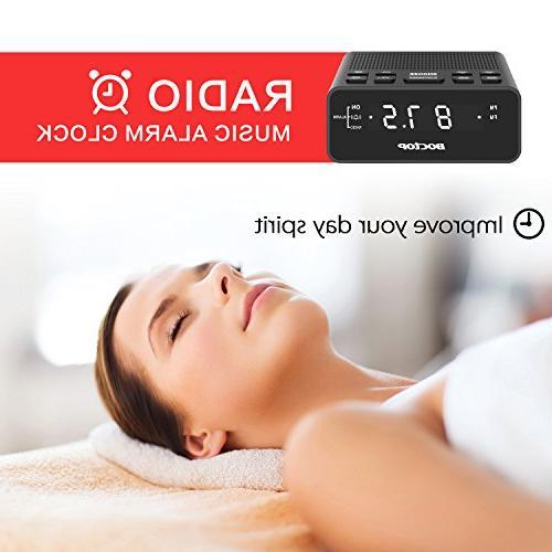 BOCTOP LED Alarm Clock Radio Timer FM Radio, USB Charging Snooze for Bedrooms