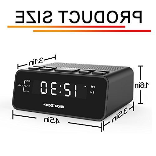 BOCTOP Digital Clock Radio Timer FM 2A USB Port, Snooze for