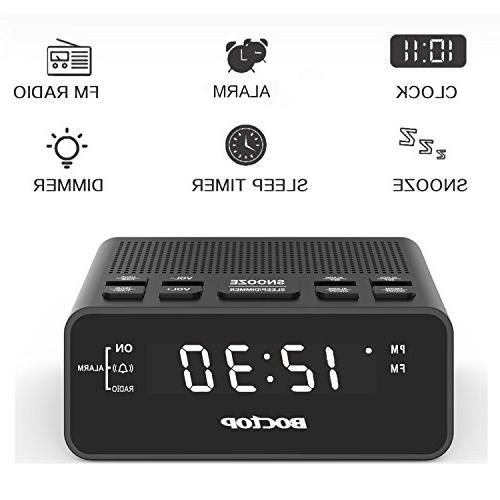 BOCTOP Clock Radio Timer USB Charging Dimmer, Snooze for