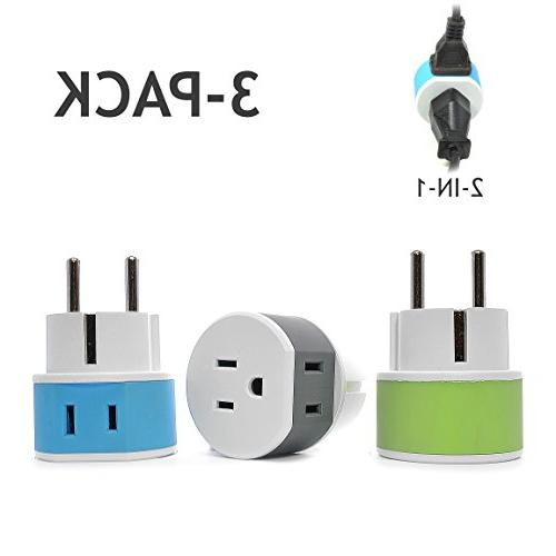 OREI Germany, France, Schuko Travel Plug Adapter - 2 USA Inp