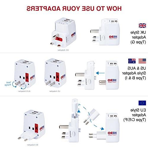 Power Plug Europe UK Thailand China NZ Australia 100+ Individually by Hero Travel -