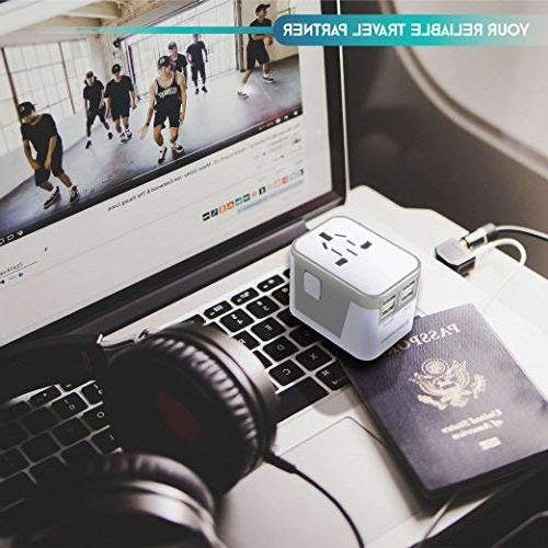 Power Plug International Travel Ports Work for Countries - 220 Adapter Travel Adapter Type C A Type G Type f for UK China European by