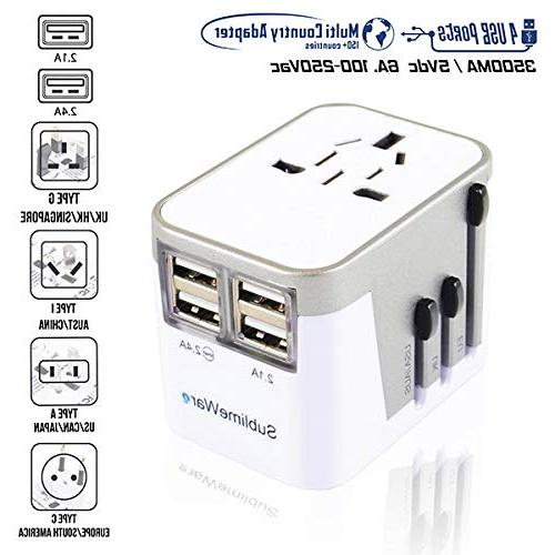 Power Adapter International Travel w/USB Ports Work Countries - Adapter - Type Type A Type f UK China by