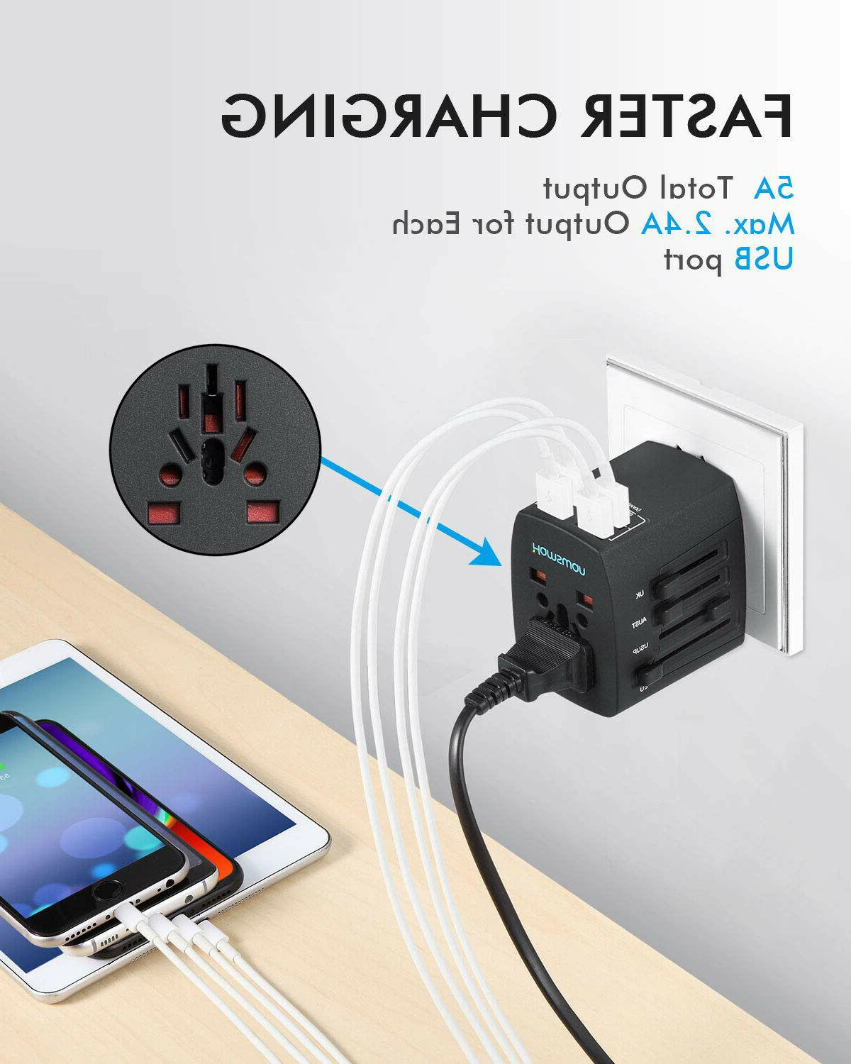 International Adapter Universal Power Outlet to 4 USB