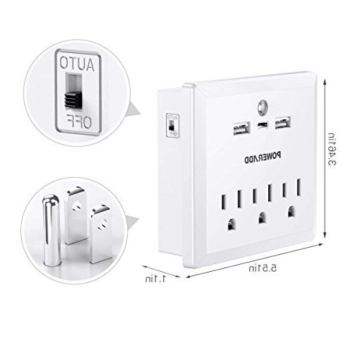 Mount Adapter with AC Outlets, 2 Charging Ports, 1 C and Sensor Strip, White