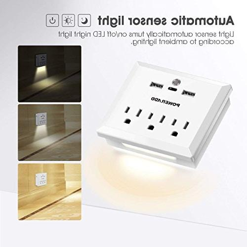 Poweradd Mount Adapter with 3 AC Outlets, Charging 1 C Port Automatic Sensor Light, Travel Strip,