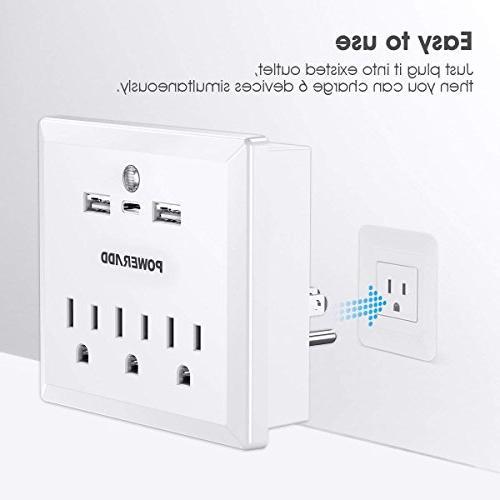 Poweradd Outlets AC Outlets, Charging 1 C Port Automatic Sensor Strip,