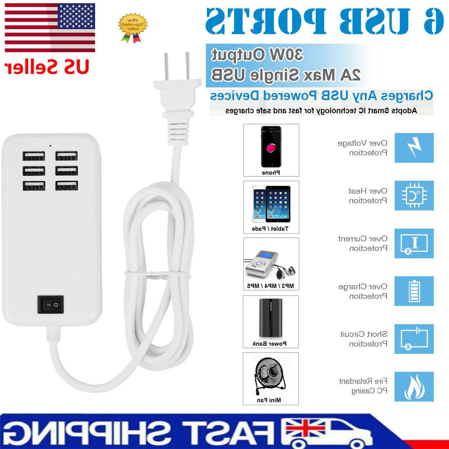 Multiple 6 Port Travel Wall Adapter Samsung