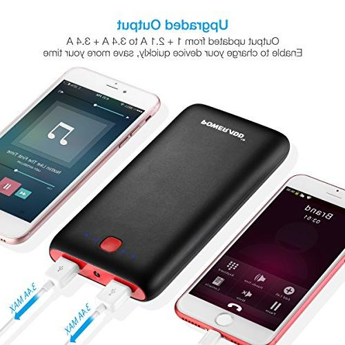 20000mAh Bank USB Port Pack Portable Charger Compatible XS Max, 8, Plus, Galaxy S9 More - Black+Red