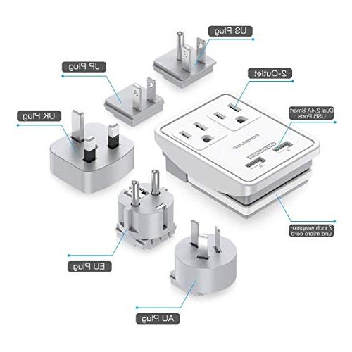 POWERADD Travel Kits Dual 2.4A USB Ports Outlets Worldwide UK, US, & Included UL