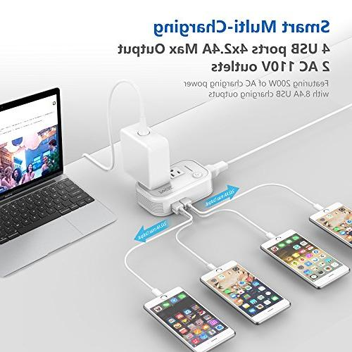 Foval International Power Down to Converter with 4-port USB in UK European Italy Asia more over the World