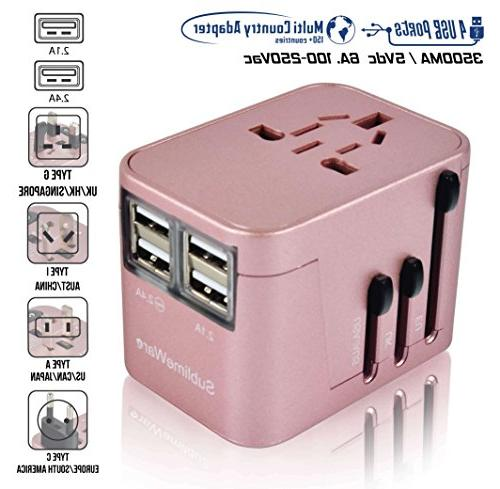 International Travel - USB Ports Work 150+ Countries Volt Adapter A Type I for UK Japan China
