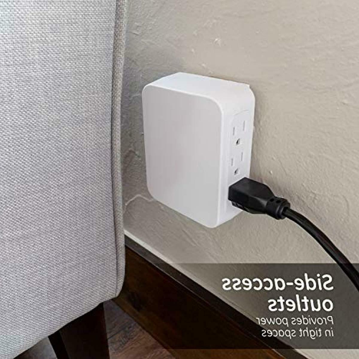GE Pro 6 Outlet Wall Surge Protector, Side Adapter, 3 P