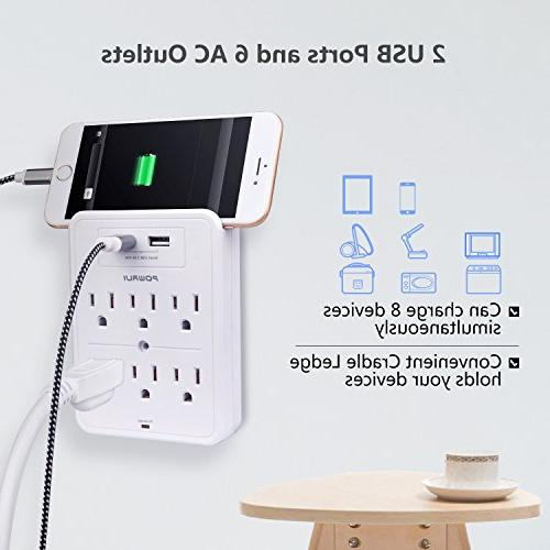 Surge Wall with USB charging ports, 6-Outlet Extender Top Holder for iPhone and White, Certified
