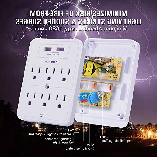 Surge Protector, POWRUI USB Wall USB charging ports, Extender Top Phone Holder and more, Certified