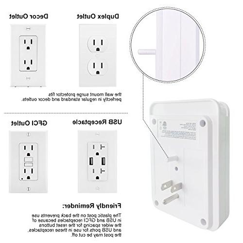 Surge Wall 2 USB charging ports, 6-Outlet Extender and Holder iPad and more, White, Certified