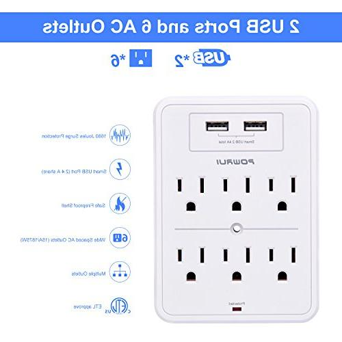 Surge POWRUI USB USB ports, 6-Outlet Extender Top Holder and more, White, Certified