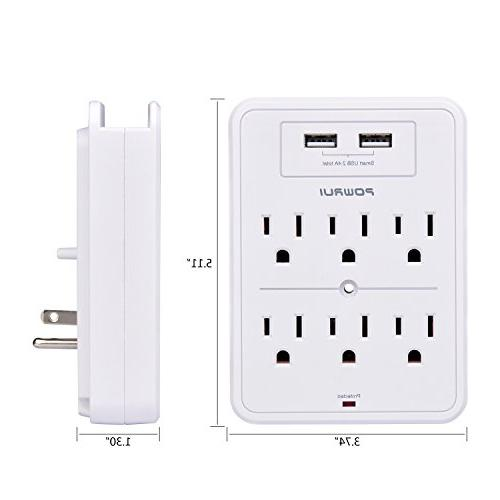 Surge Wall with 2 USB charging 6-Outlet Extender Top Holder Certified