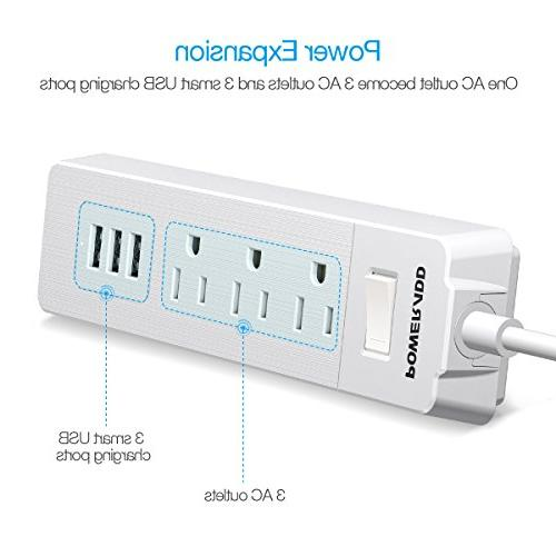 Poweradd Surge Protector Power 3 Smart USB Ports and 5ft Cord - White