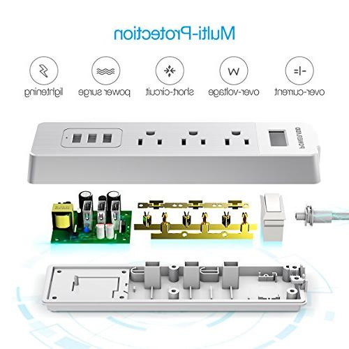 Power Strip with 3 Smart USB 5ft - White