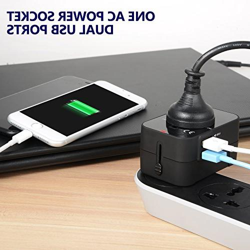 Travel Adapter Wall Charger AC 2.4A Adapter Dual USB for EU AUS 150 countries