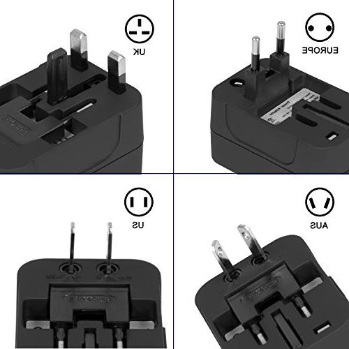 Travel Adapter, All in One Travel Adapter Wall Charger AC Power Adapter USB for USA AUS 150 countries
