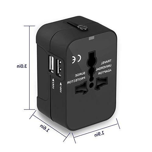 Travel Xcords All in Worldwide Travel Wall AC Adapter Dual USB for USA AUS countries