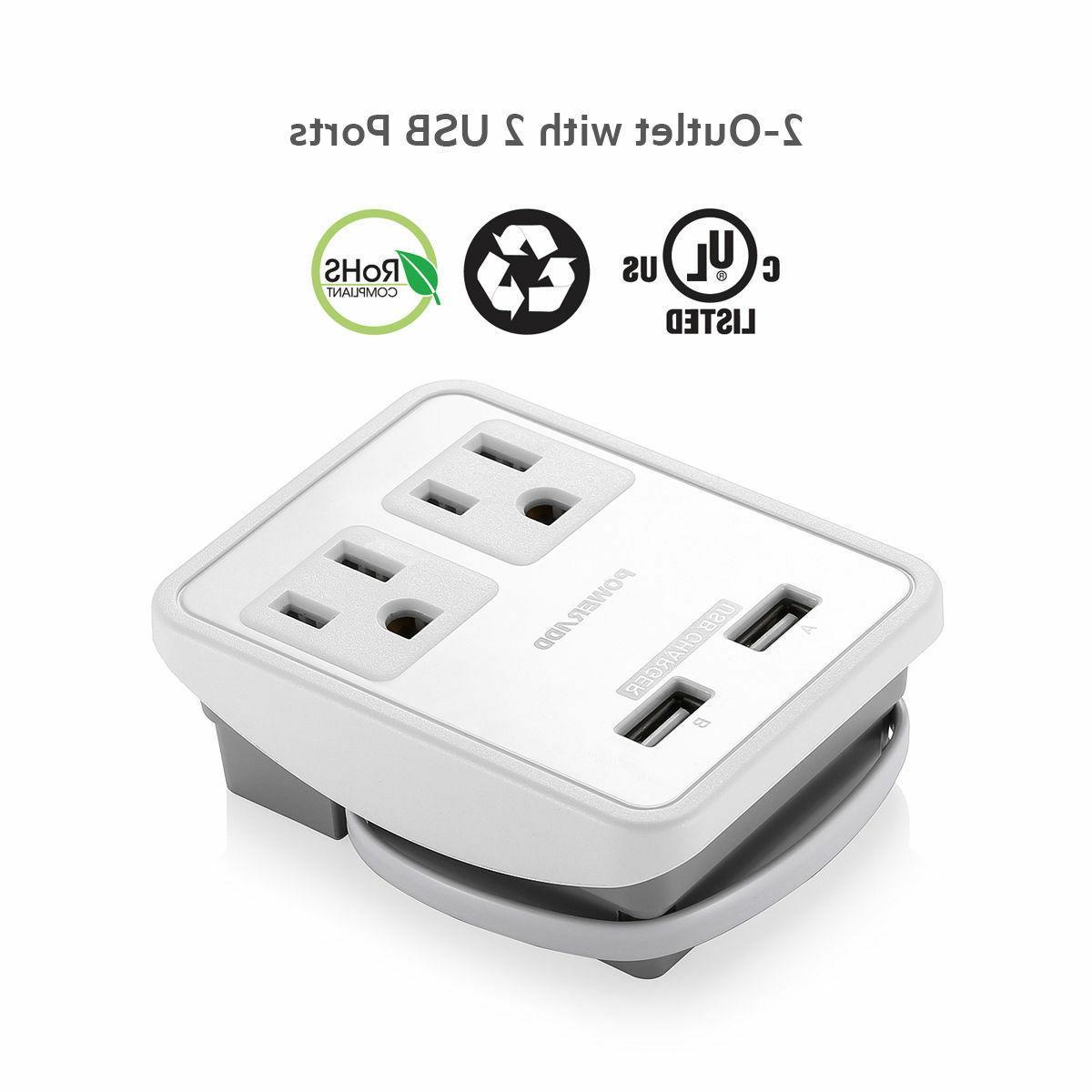 Poweradd Travel Power Adapter Dual USB UK/AU/EU/JP/US Wall
