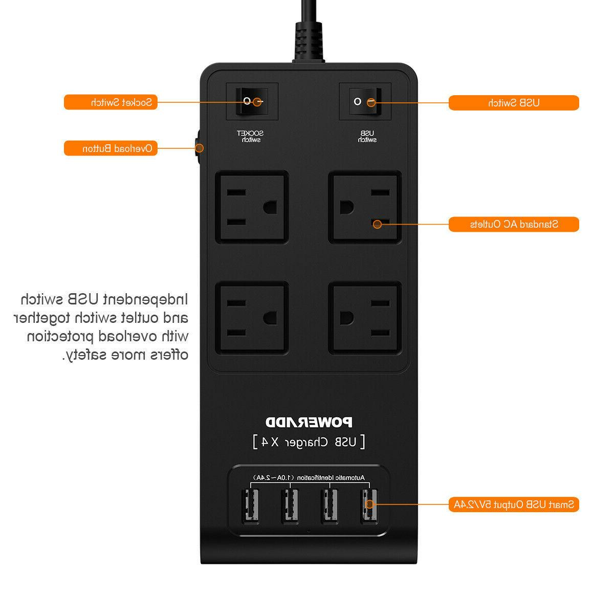 Travel Power 4 Outlet 4 USB Ports Surge Protector Adapter