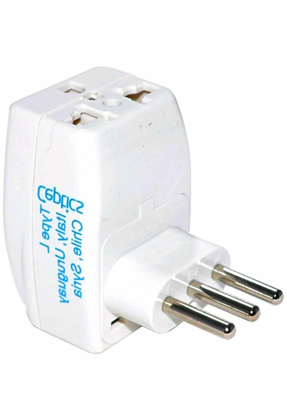 Ceptics Type L  3 Outlet Travel Adapter Plug For Power Charg