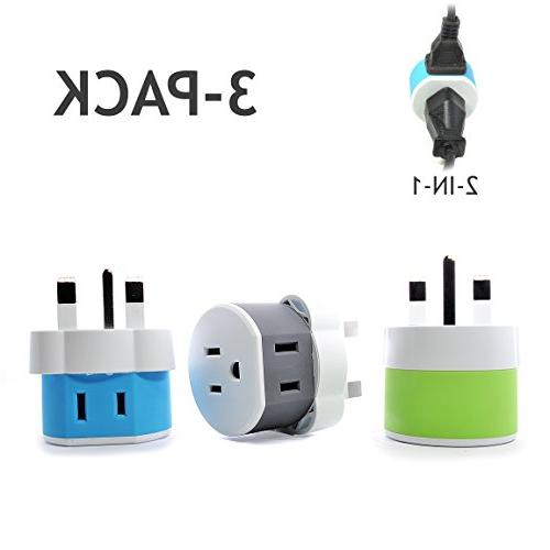 OREI UK, Ireland, Dubai Travel Plug Adapter - 2 USA Inputs -