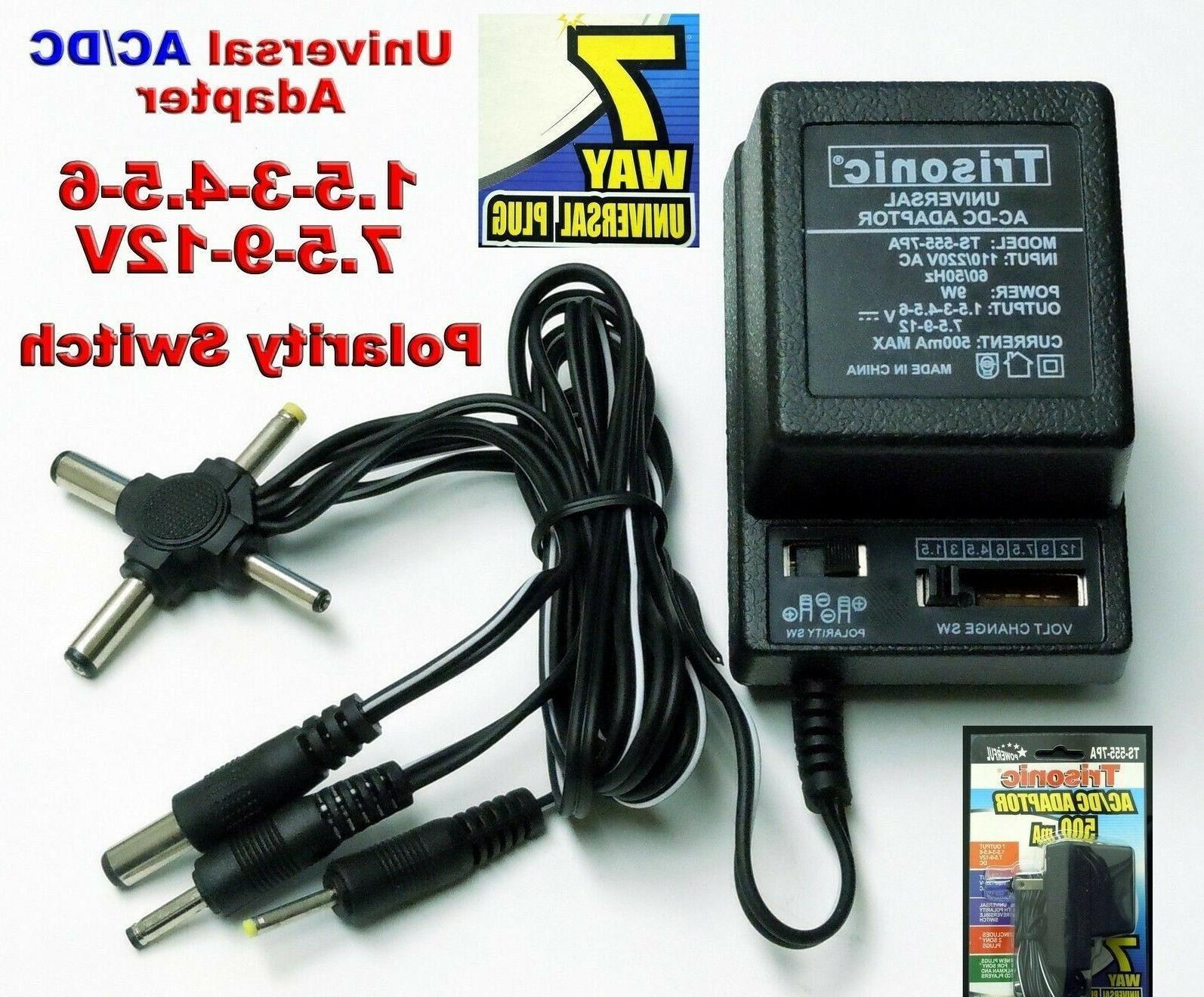 Universal ac/dc power adapter output 3V 4.5V 6V 7.5V 9V 12V