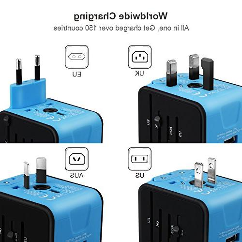 All-in-one International Power Adapter 2.4A European Adapter Travel Wall UK, AU,