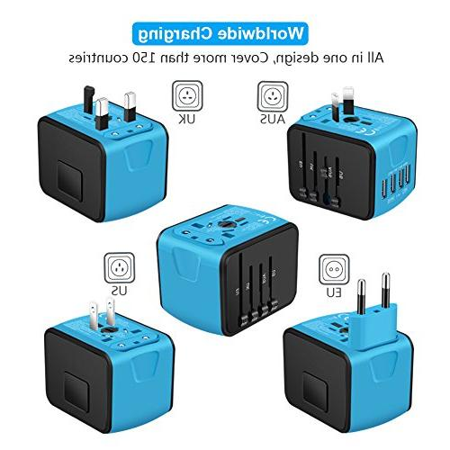 SAUNORCH Universal Power Adapter High Speed 4xUSB Wall AC Outlet Plugs for Europe, AU, Asia-Blue