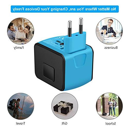 SAUNORCH Universal Travel Power Adapter W/Smart Speed 2.4A AC Plugs for UK, AU,