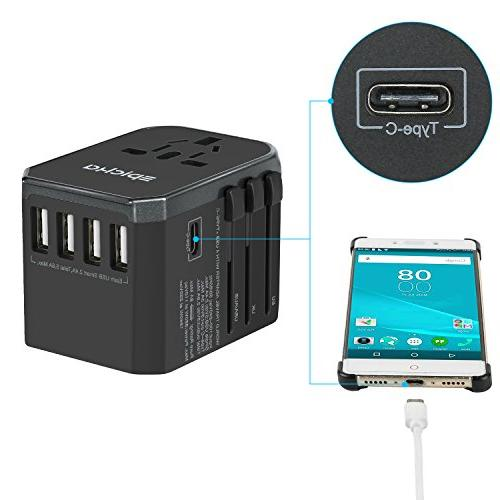 EPICKA Adapter One International Charger AC with Power 3.0A USB USA EU Cell Laptop