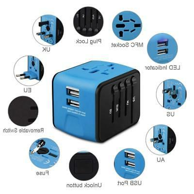 Universal Travel Adapter, HAOZI All-in-one International Power with 2.4A