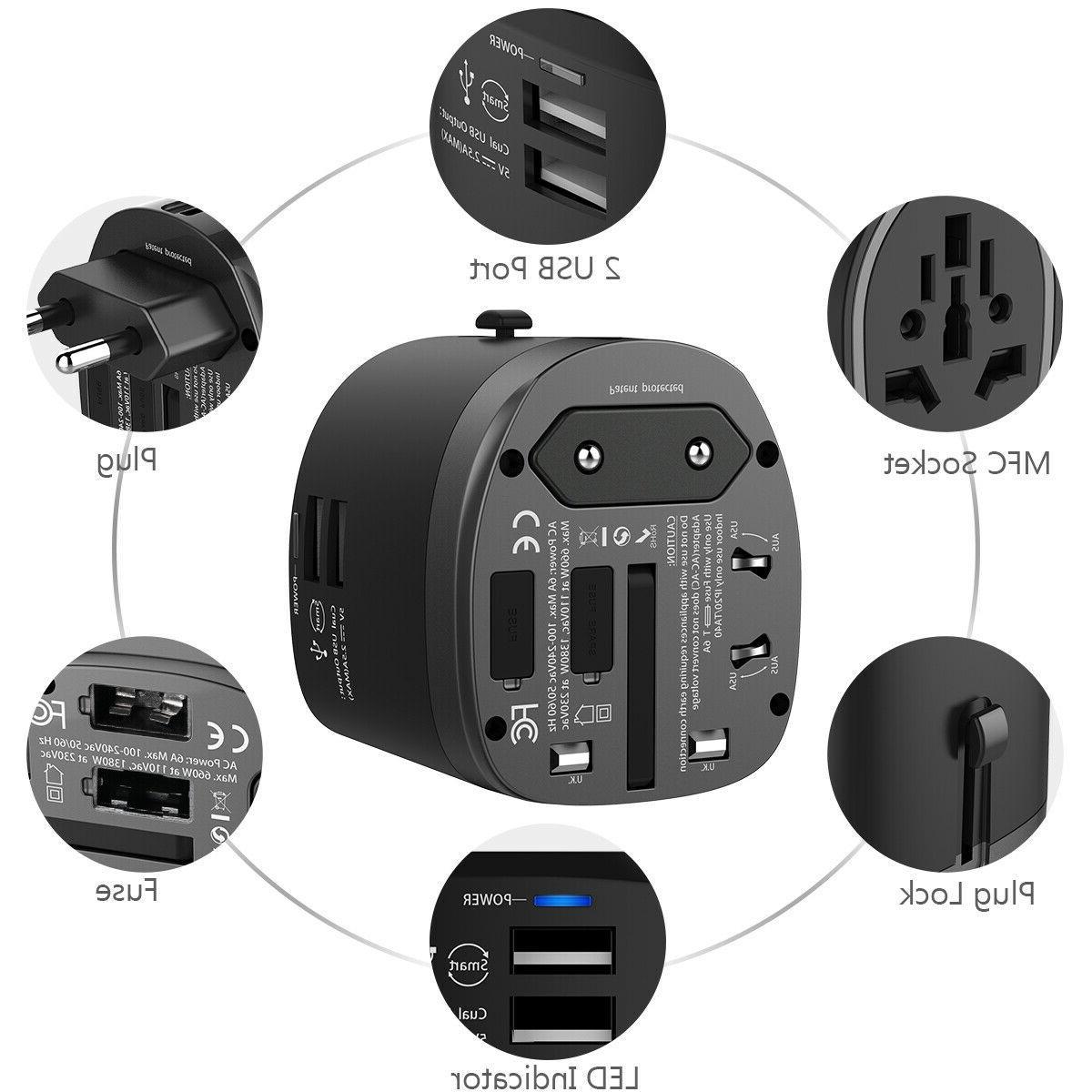 Universal Travel Adapter Wall Charger AU UK EU AC Converter USB